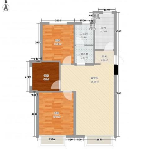 中国铁建 青秀蓝湾3室1厅1卫1厨65.82㎡户型图