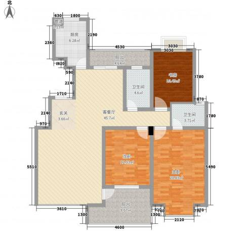 花街18二期3室1厅2卫1厨167.00㎡户型图