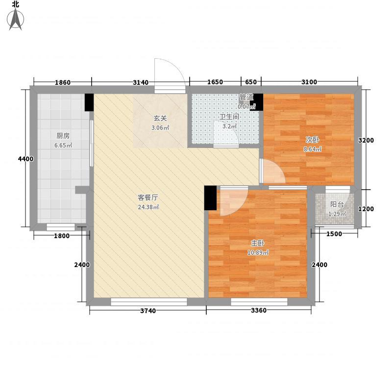 第8区84.00㎡3#、5#、7#号楼F户型2室2厅1卫1厨