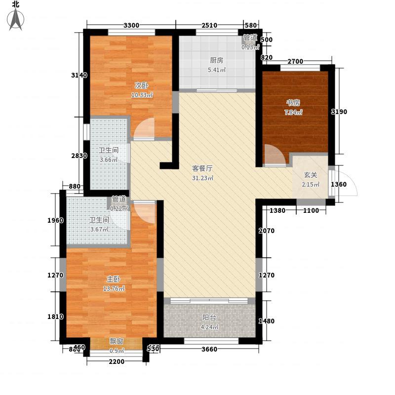 太原保利香槟国际3室1厅2卫1厨80.50㎡户型图