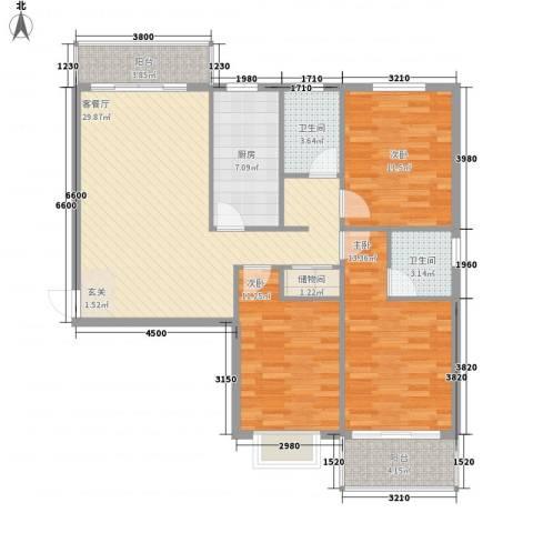 富亿坊3室1厅2卫1厨126.00㎡户型图