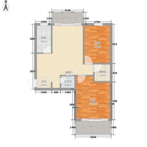 富亿坊2室1厅1卫1厨88.00㎡户型图