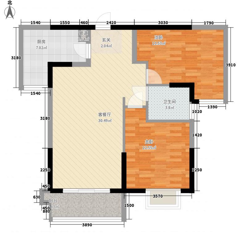 漳州碧湖万达广场B2-B3#A2户型2室2厅1卫1厨