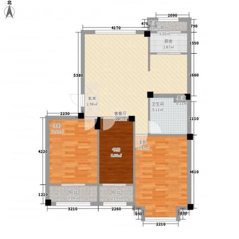 高新・锦绣北山3室1厅1卫1厨113.00㎡户型图