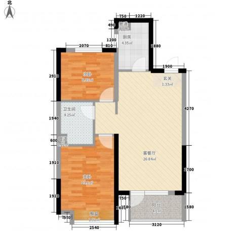 美的城2室1厅1卫1厨87.00㎡户型图