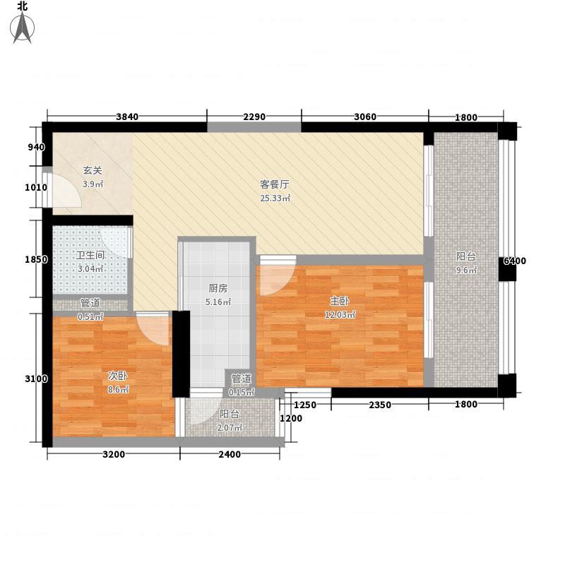 天宇时代广场2室1厅1卫1厨96.00㎡户型图