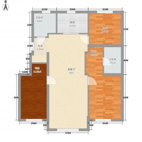 其仕盛和祥3室1厅2卫1厨117.00㎡户型图