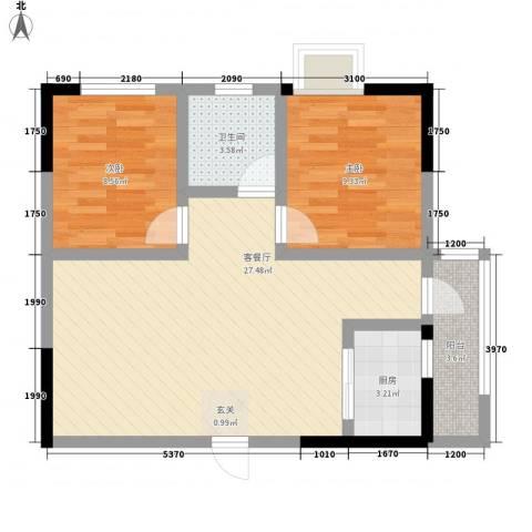 金洲城2室1厅1卫1厨65.00㎡户型图