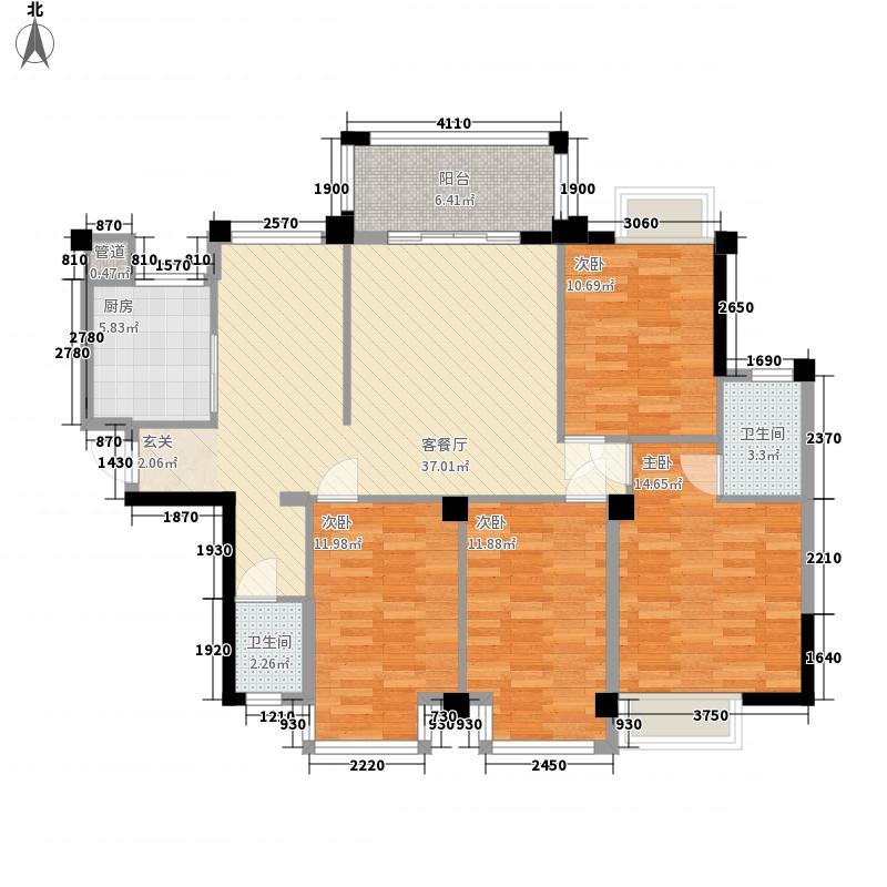 江川悦城4室1厅2卫1厨147.00㎡户型图