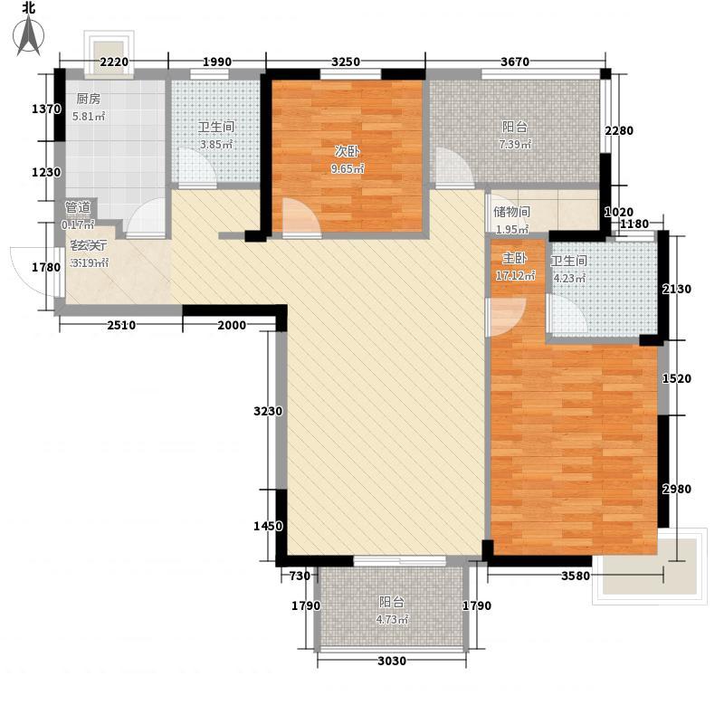 光谷地产梅花坞2室1厅2卫1厨90.17㎡户型图