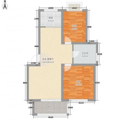 奇瑞花园2室1厅1卫1厨77.00㎡户型图