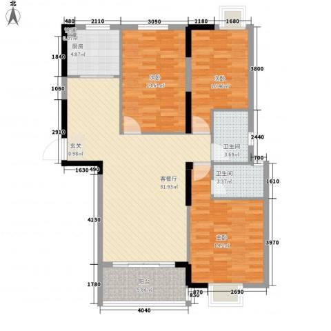 龙翔・中央公馆3室1厅2卫1厨124.00㎡户型图