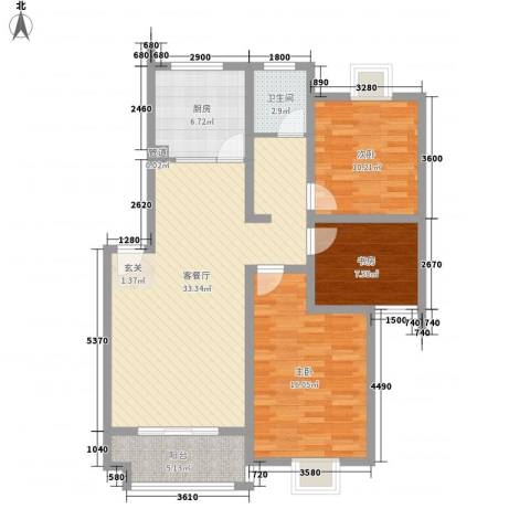 兴龙中路小区3室1厅1卫1厨118.00㎡户型图