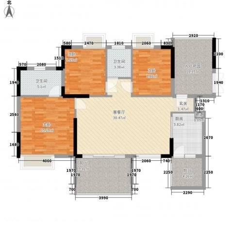 宝麒花园3室1厅2卫1厨121.00㎡户型图