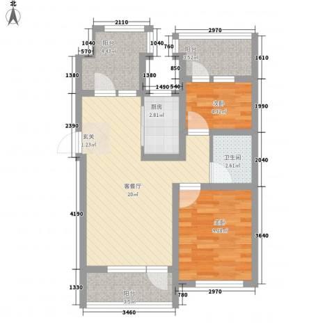 滨河湾2室1厅1卫1厨76.00㎡户型图
