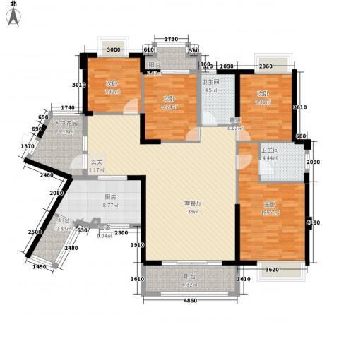未来海岸系天湖4室1厅2卫1厨167.00㎡户型图