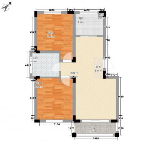 四季花城2室1厅1卫1厨88.00㎡户型图