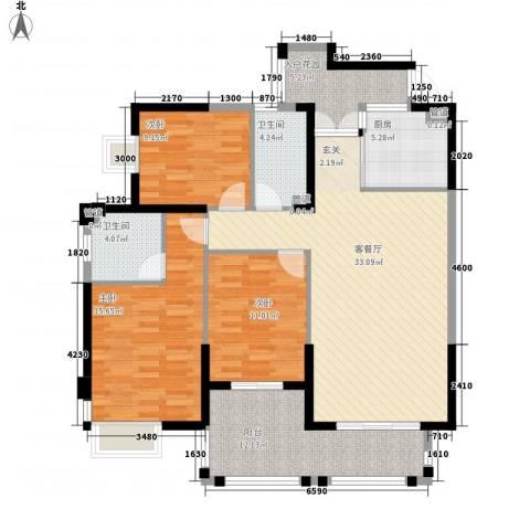 未来海岸系天湖3室1厅2卫1厨142.00㎡户型图