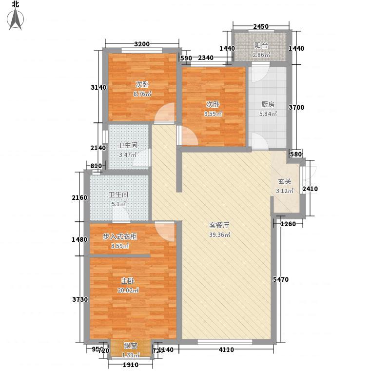 太原富力桃园户型图一期户型(莫盖尔) 3室2厅2卫1厨