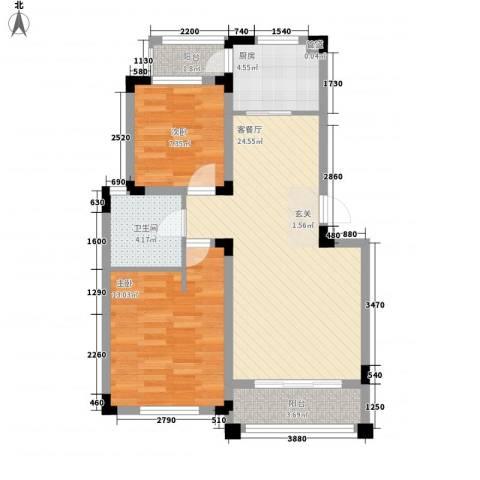 四季花城2室1厅1卫1厨86.00㎡户型图