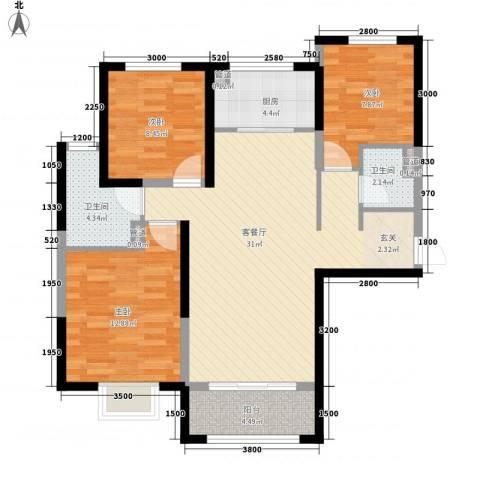 保利花园3室1厅2卫1厨109.00㎡户型图