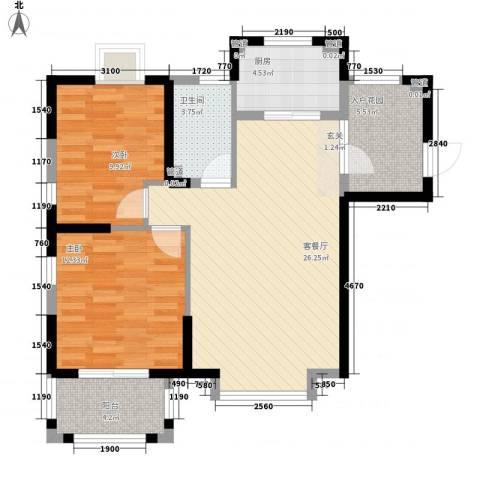未来海岸系天湖2室1厅1卫1厨96.00㎡户型图