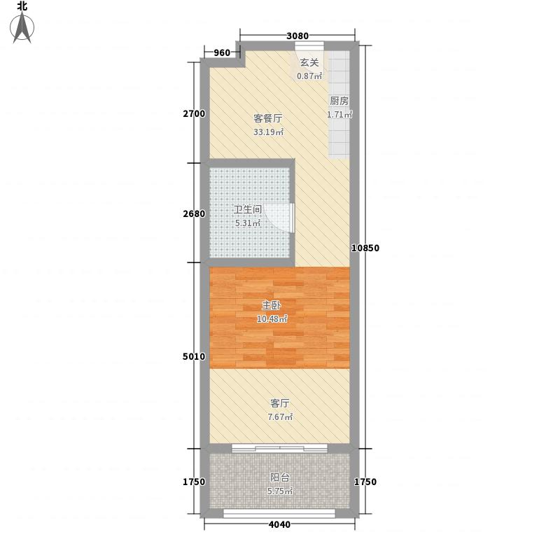 荣盛・汤泉首岭57.10㎡D户型1室1厅1卫