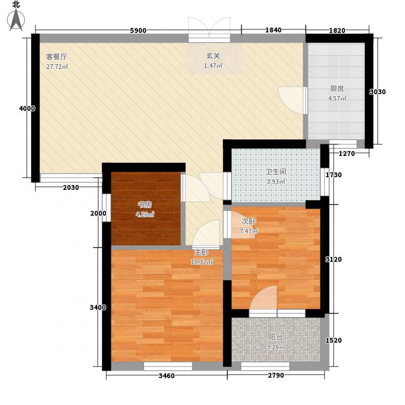 武汉恒大首府3室1厅1卫1厨61.58㎡户型图