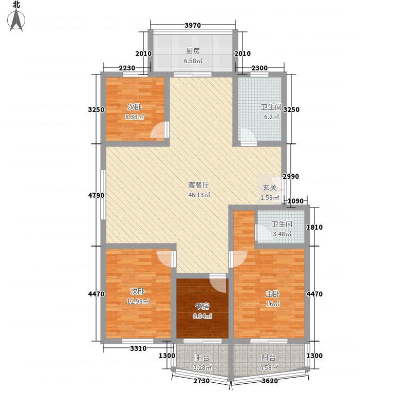 好来花园2号楼1户型3室2厅2卫1厨
