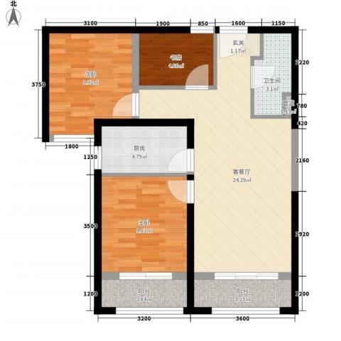 保利花园3室1厅1卫1厨91.00㎡户型图
