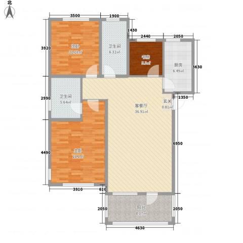 清韵百园3室1厅2卫1厨99.21㎡户型图