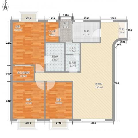 都汇豪庭3室1厅2卫1厨128.00㎡户型图