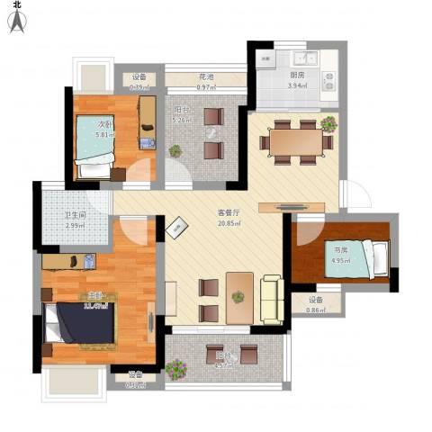 瑞泽源一里洋房3室1厅1卫1厨94.00㎡户型图