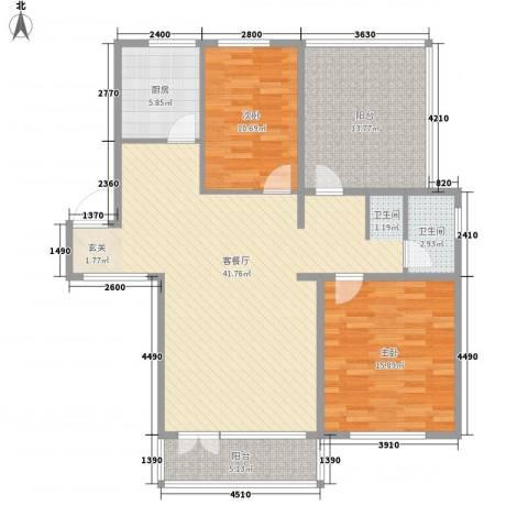 清韵百园2室1厅1卫1厨96.02㎡户型图