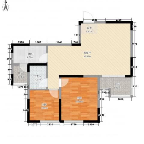 都市广场2室1厅1卫1厨77.00㎡户型图