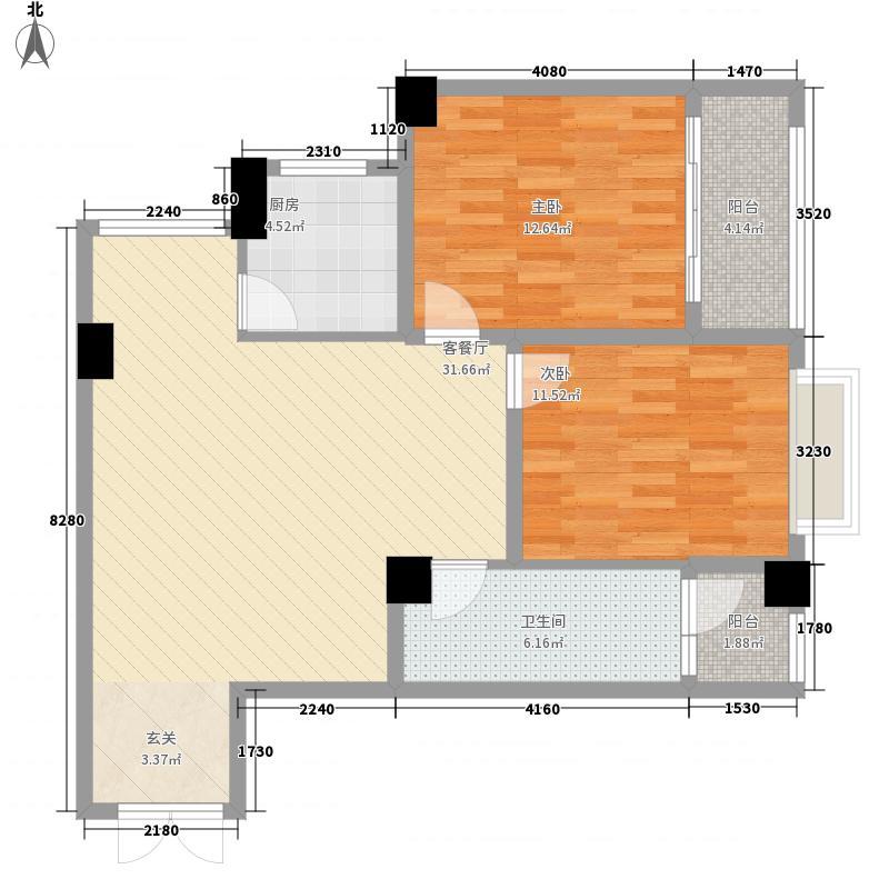 SOHO鸟巢14.00㎡K户型2室1厅1卫1厨