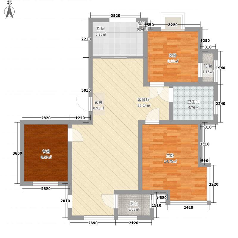 泰盈九如溪谷3室1厅1卫1厨115.00㎡户型图