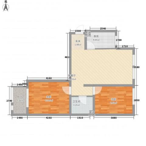山海景湾2室1厅1卫1厨81.00㎡户型图