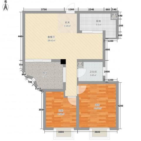 世纪中央城2室1厅1卫1厨67.03㎡户型图