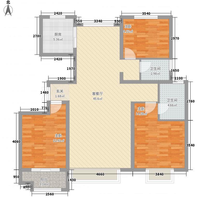 中景香颂3室1厅2卫1厨98.36㎡户型图