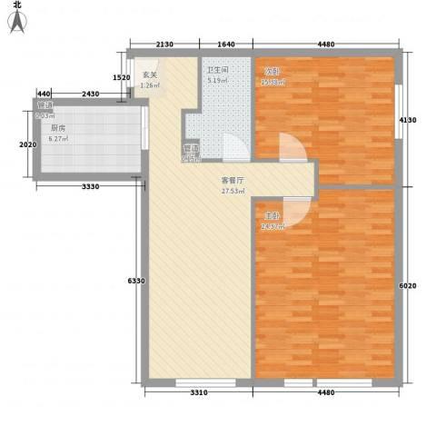 凯旋莲湖公馆2室1厅1卫1厨109.00㎡户型图