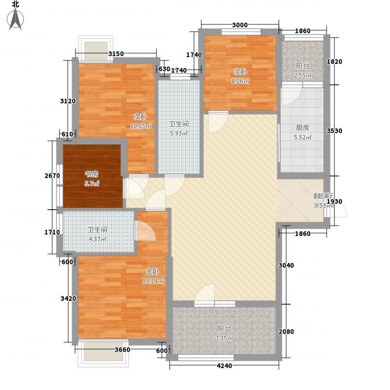 瑞景天成4室1厅2卫1厨134.00㎡户型图
