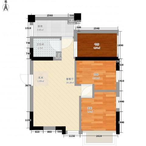 怡江新村3室1厅1卫1厨55.00㎡户型图