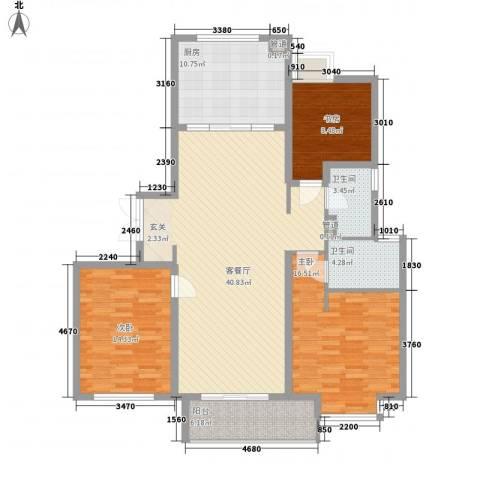 涨浦景苑3室1厅2卫1厨149.00㎡户型图