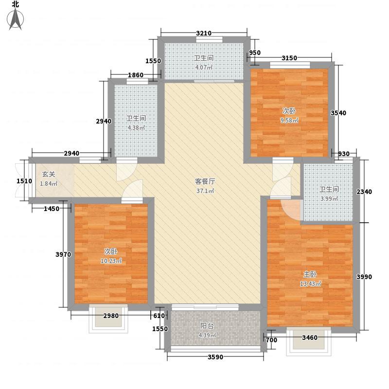中景香颂3室1厅3卫0厨126.00㎡户型图