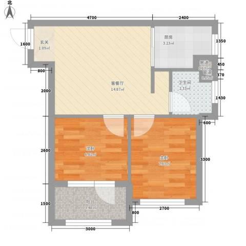 家豪圣托里尼2室1厅1卫1厨38.74㎡户型图