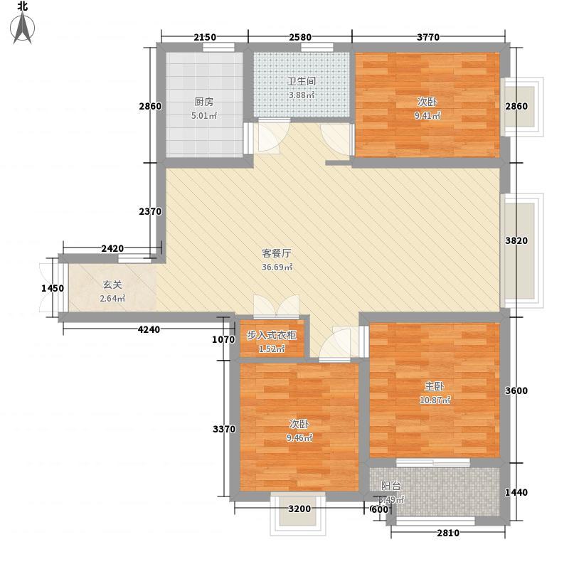 中景香颂3室1厅1卫1厨114.00㎡户型图
