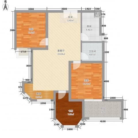 世纪中央城3室1厅1卫1厨80.98㎡户型图
