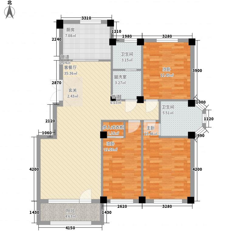 三鼎春天3室1厅2卫1厨131.00㎡户型图