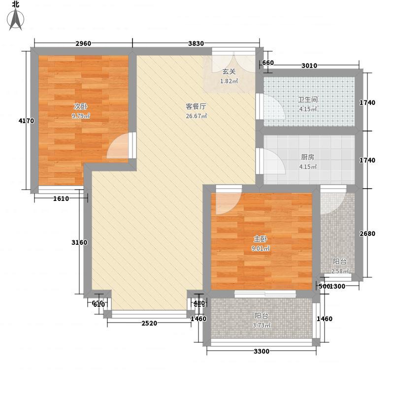 亚太玫瑰园2室1厅1卫1厨60.08㎡户型图